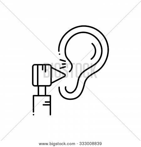 Black Line Icon For  Otology Otolaryngologist Applicator Hearing-treatment