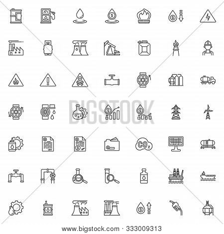 Oil Industry Line Icons Set. Linear Style Symbols Collection, Outline Signs Pack. Vector Graphics. S