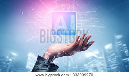 Ai Learning And Artificial Intelligence Concept - Icon Graphic Interface Showing Computer, Machine T