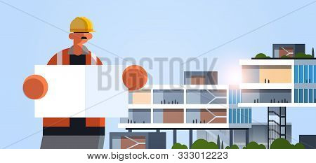 male builder architect holding blueprint workman engineer with empty placard board industrial worker in uniform building concept modern office exterior flat portrait horizontal vector illustration poster