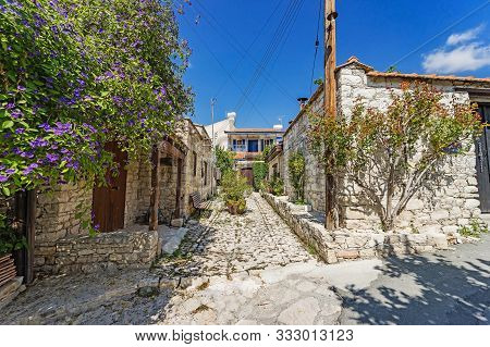 Lania Village In Cyprus-narrow Streets And Traditional Buildings. The Famous Village Of Creative Peo