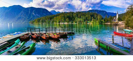 Idyllic nature scenery - beautiful magic lake Bohinj in Slovenia, Triglav national park