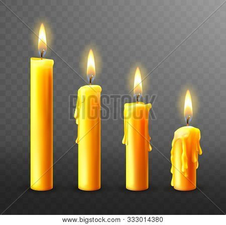 Burning Candle With Dripping Or Flowing Wax, Realistic Vector Illustration. Yellow Candles With Gold