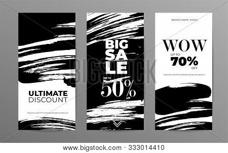 Sale Story Template For Social Media. Wholesale Web Banner Designs Pack. Low Prices And Discounts Of