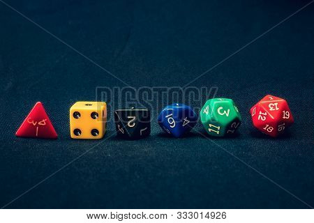 Dice Set Of 6 Line Up On Table With 1 Facing Up