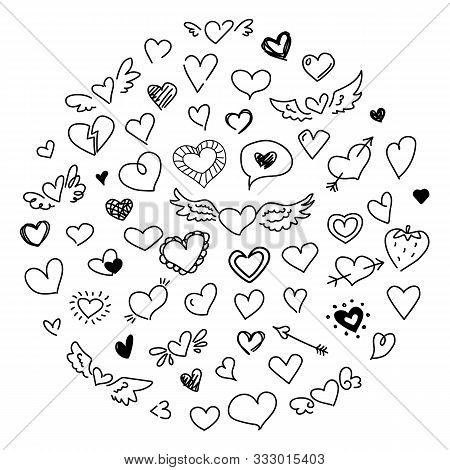 Cute Doodle Heart Set. Love Concept Drawing Design Elements. Valentines Day Black Sketch Romantic Sy