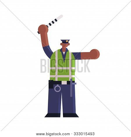 Male Road Police Inspector Using Traffic Stick African American Policeman Officer In Uniform Securit