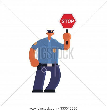 Male Road Traffic Police Inspector Holding Stop Sign Policeman Officer In Uniform Security Authority