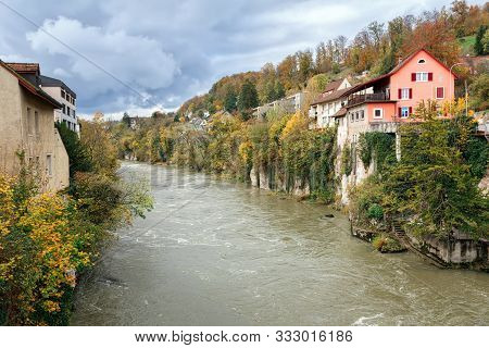 Brugg, Switzerland - November 11, 2019. View Of Old Town And Aare River. Town Of Brugg, Canton Of Aa