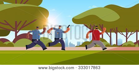 Police Officers With Pistols Pursuing Burglar Criminal Running Away From Policemen In Uniform Securi