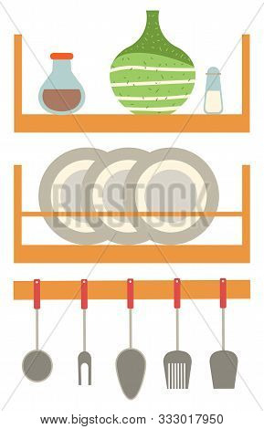 Plate And Jar On Shelf, Dishware On Wall, Element On Kitchen. Home Objects, Spoon And Fork, Ceramic