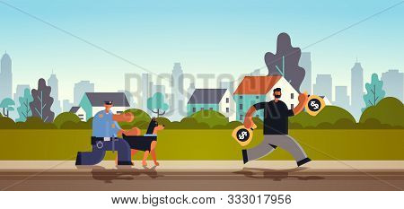 Police Officer With German Shepherd Pursuing Burglar Criminal Running Away From Policeman With Dog S