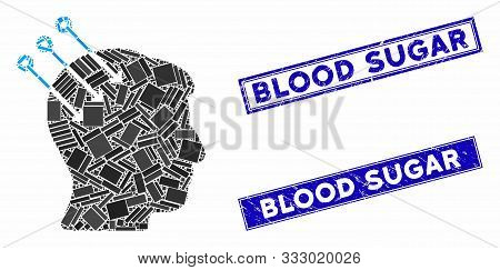 Mosaic Neural Interface Connectors Pictogram And Rectangular Stamps. Flat Vector Neural Interface Co