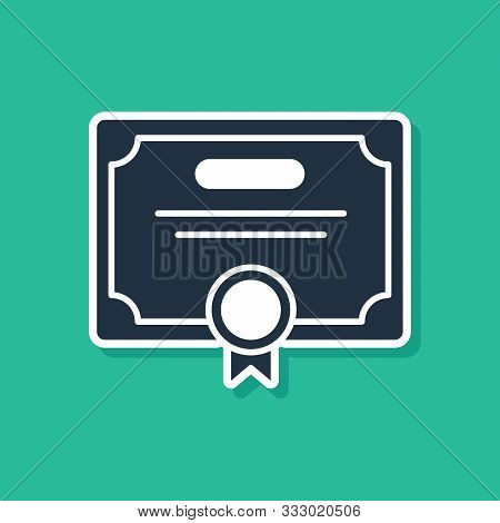 Blue Certificate Template Icon Isolated On Green Background. Achievement, Award, Degree, Grant, Dipl