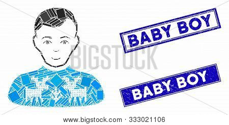 Mosaic Deers Pullover Boy Pictogram And Rectangle Seals. Flat Vector Deers Pullover Boy Mosaic Picto