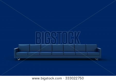 Extremely Long Blue Leather Sofa Isolated On Blue Background. 3d Rendering