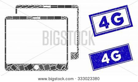 Mosaic Mobile Tabs Icon And Rectangle Seal Stamps. Flat Vector Mobile Tabs Mosaic Pictogram Of Scatt