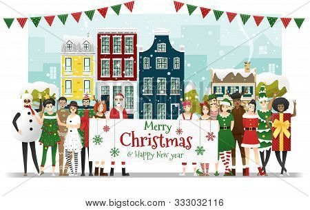 Group Of Teens In Christmas Costume Concept Holding Board With Text Merry Christmas And Happy New Ye