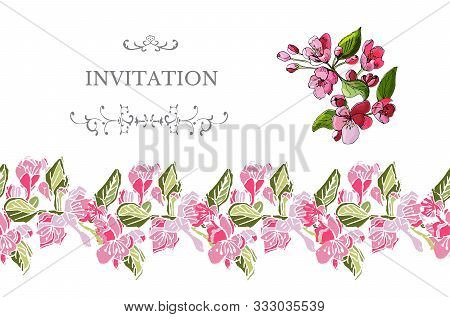 Horizontal  Template For Invitation Or Greeting Card With Colored  Blossoming Branch Of Apple Tree F