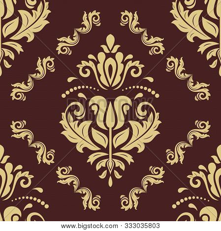 Orient Vector Classic Brown And Golden Pattern. Seamless Abstract Background With Vintage Golden Ele