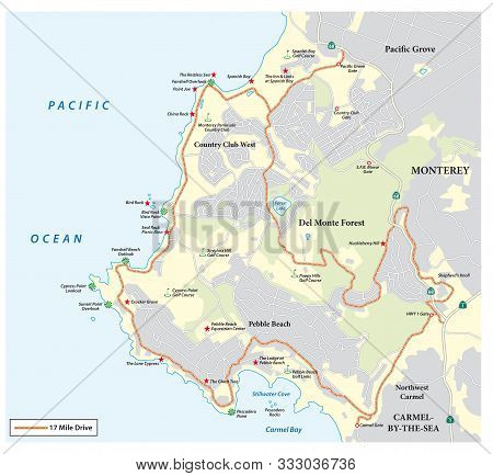 Map Of Seventeen Mile Drive A Scenic Road Through Pebble Beach And Pacific Grove On The Monterey Pen