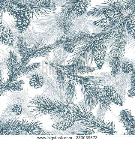 Christmas Tree Hand Drawn Seamless Pattern. Pine Branches With Cones Texture. Merry Christmas Monoch