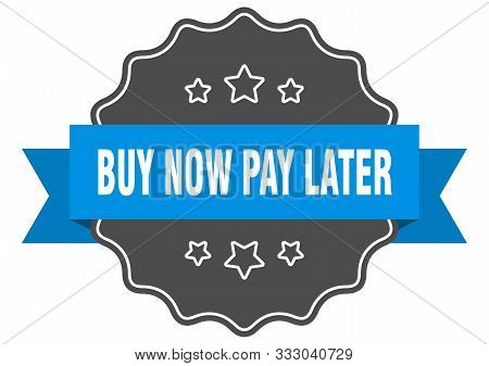 Buy Now Pay Later Blue Label. Buy Now Pay Later Isolated Seal. Buy Now Pay Later