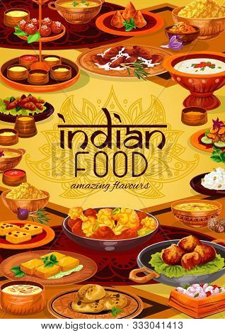 Indian Food Vector Design Of Rice Pilau, Chicken Meat Curry And Vegetable Stew, Seafood, Lentil Soup