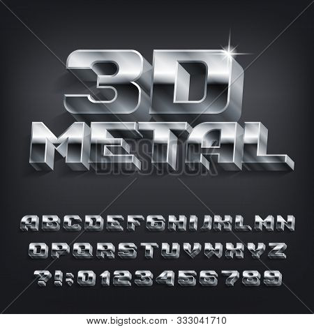 3d Metal Alphabet Font. 3d Effect Chrome Letters, Numbers And Symbols With Shadow. Stock Vector Type