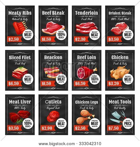 Meat Food Tags And Labels On Chalkboard Vector Design. Beef Steak, Pork Ribs And Ham, Bacon, Lamb An