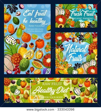 Fruits And Exotic Berries Vector Design Of Fruity Detox Diet, Organic Farm Food. Frame Of Oranges, D