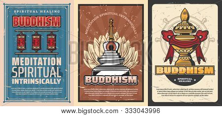Buddhism Religion Vector Temple Stupa And Sacred Flower Of Lotus, Buddhist Symbols Of Dharma Wheel,