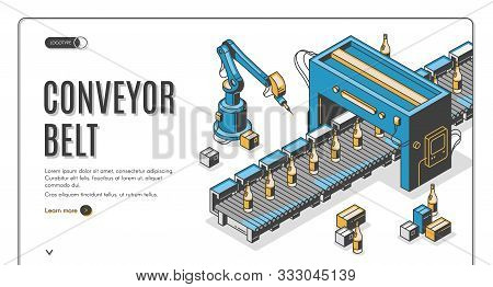 Factory Conveyor Belt Isometric Landing Page. Robotic Arms Packing Glass Bottles Production On Trans
