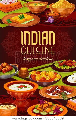 Indian Spice Rice With Meat, Seafood And Vegetable Dishes Vector Design. Pilau, Lentil And Shrimp So