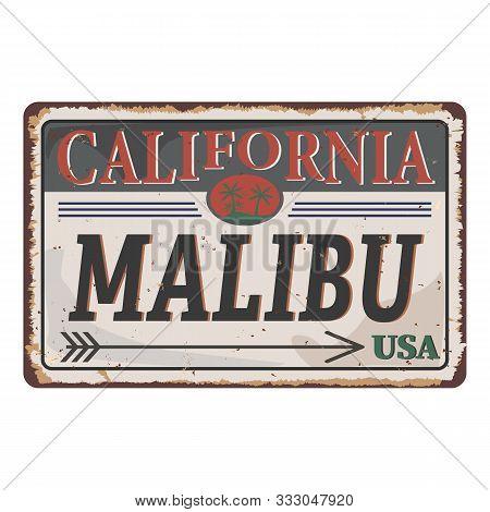 Malibu Beach, California Retro Vintage Rusted Metal Plate Poster.