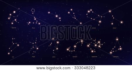 Zodiac Constellation Vector Illustrations Set. Astrological Symbols On Dark Blue Starry Background.