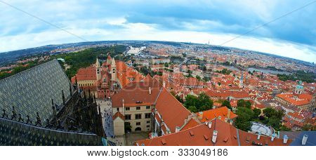 Prague Aerial View Of Hradcany. Architecture And Monuments.