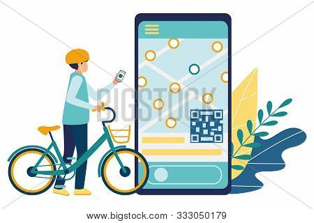 Bicycle Rental. Mobile Application For Searching And Renting Of Bicycles. Young Man Student In A Hel