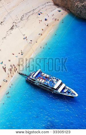 The world famous beach Navagio in Zakynthos, Greece