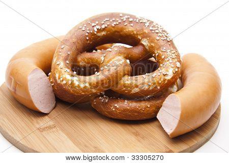 Lye pretzel with pork sausage
