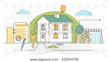Mortgage Vector Illustration. Outlined Estate Purchase Banking Process. Obligation Financial Payment
