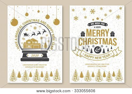 Set Of Merry Christmas And 2020 Happy New Year Poster, Flyer, Greeting Cards. Set Quotes With Snowfl