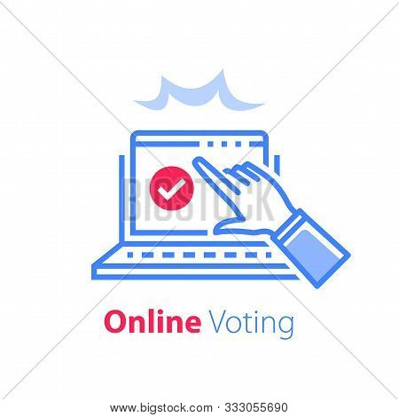 Online Exam, Pass Test, Tick Box On Monitor, Check Knowledge, Complete Internet Course, Web Vote, Op