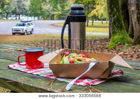 salad lunch with tea on a picnic table, forest parking with a SUV car in background, travel and driving concept