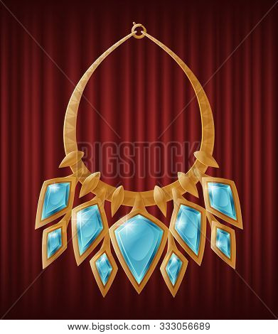 Luxirious Golden Necklece With Multiple Diamond Shape Gemstones. Accessory Decorated By Blue Preciou