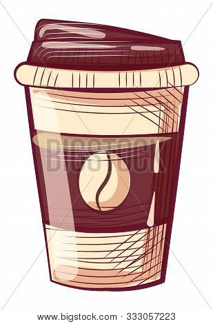 Disposable Mug With Lid, Coffee Container With Cap Isolated Sketch. Vector Takeaway Dishware, Java B