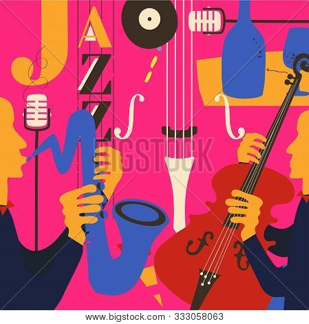 Jazz Music Festival Poster With Violoncello, Saxophone And Microphone Flat Vector Illustration Desig