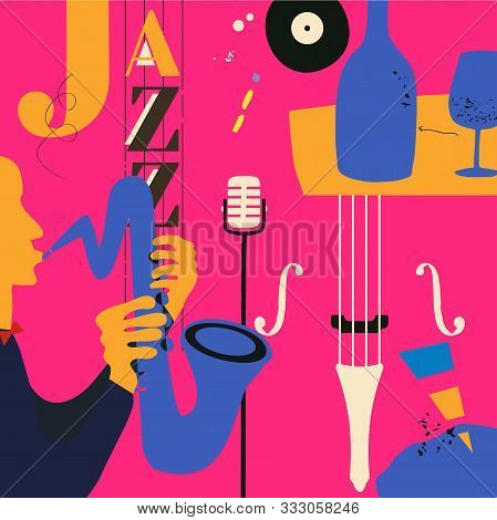 poster of Jazz music festival poster with violoncello, saxophone and microphone flat vector illustration design. Colorful music background, music show, live concert events, party flyer, jazz music poster