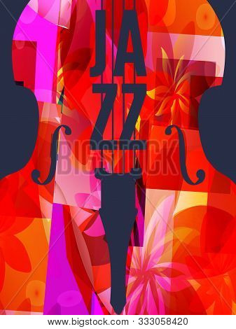 Jazz Music Festival Poster With Violoncello Vector Illustration Design. Colorful Music Background, M