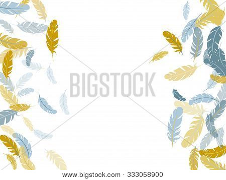 Abstract Silver Gold Feathers Vector Background. Bird Wing Plumage Boho Line Art. Decorative Confett